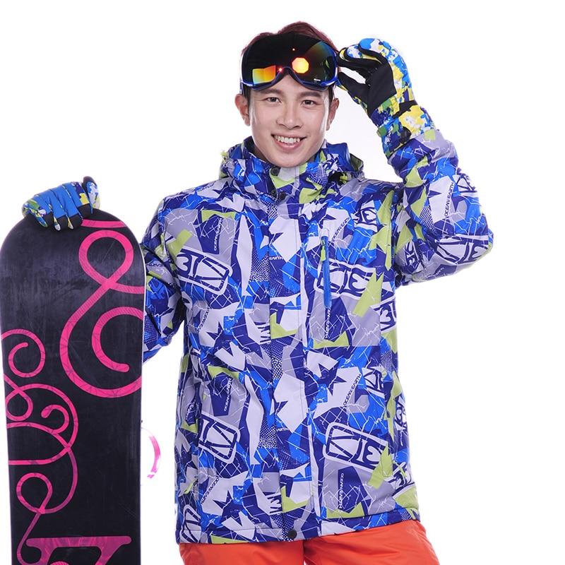 Prix pour 2016 Impression D'hiver Hommes Vêtements De Ski Imperméable Respirant Veste de Ski En Plein Air Chaud Hommes Neige Veste Snowboard Costume Ski Porter MJ12