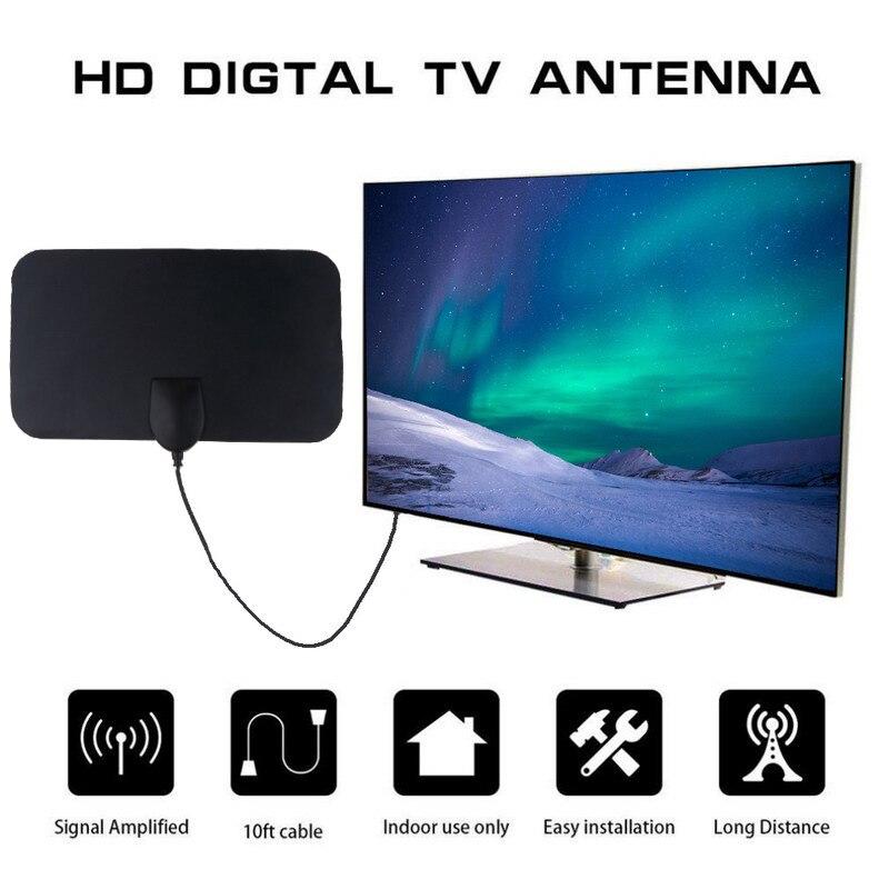 Black 4K 25DB High Gain HD TV DTV Box Digital TV Antenna EU Plug 50 Miles Booster Active Indoor Aerial HD Flat Design