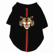 Роскошный Дизайнер с вышитой головой тигра и свитер со шнуровкой для весны и осени футболки маленькие и средние собаки XXXL
