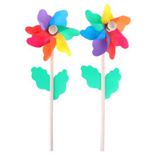 Beautiful High Quality Colorful Wood Garden Yard Party Windmill Wind Spinner Ornament Decoration Kids Toys(China)