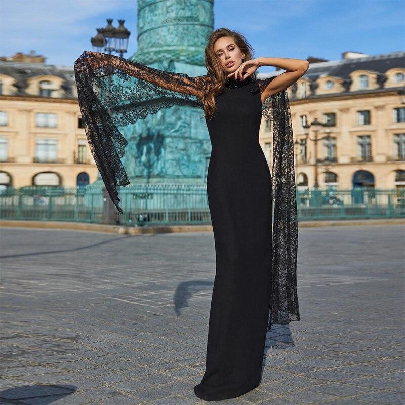 2018 Nueva Moda Clásico Negro Vendaje Mujeres Vestido Largo