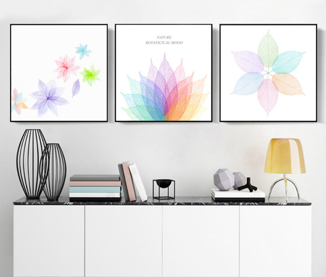 US $9 48 48% OFF|Creative 3 pieces abstract spray paintings painted on  canvas colorful leaves flowers decoration for wall no frame -in Painting &