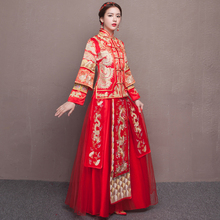 Traditional Show clothes dragon gown pratensis chinese style bride dress red evening married cheongsam la robe de mariage