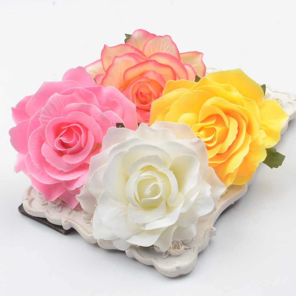 30pcs 10cm Large Artificial Rose Silk Flower Heads For Wedding Decoration DIY Wreath Gift Box Scrapbooking Craft Fake Flowers