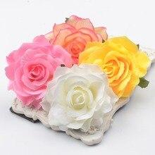 30 unidades/lote de cabezales de flores artificiales de rosa de seda grandes de 10cm para decoración de boda en casa, guirnalda de Scrapbooking, manualidades de flores falsas
