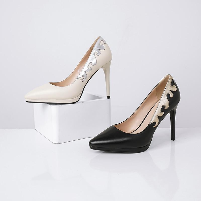 Profonde Printemps Peu Mince Beige Haute Véritable Bout Pompes forme Nouveau En Plate Talons Femme 2019 Cuir Chaussures Isnom Femmes Pointu noir z1wqUqn