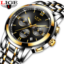купить LIGE New Luxury Luminous Watches Men Waterproof Stainless Steel Analogue Wrist Watch Chronograph Date Quartz Watch Montre Homme по цене 1121.31 рублей