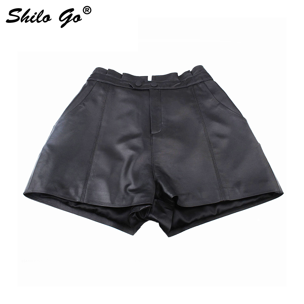 Leather Shorts Womens Autumn Fashion Sheepskin Genuine Leather Shorts Ruffles Waist Concise Wide Leg Black Shorts