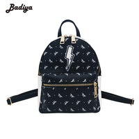 Lovely Women Backpack Cute Charms Butterfly Print Knapsacks Female Fashion School Bags PU Leather Portfolio Mochila