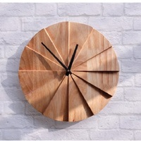 Decorative Handmade Modern Solid Wood Wall Clock, Quiet and Non ticking Clock, Natural Rubber Wood, 28cm