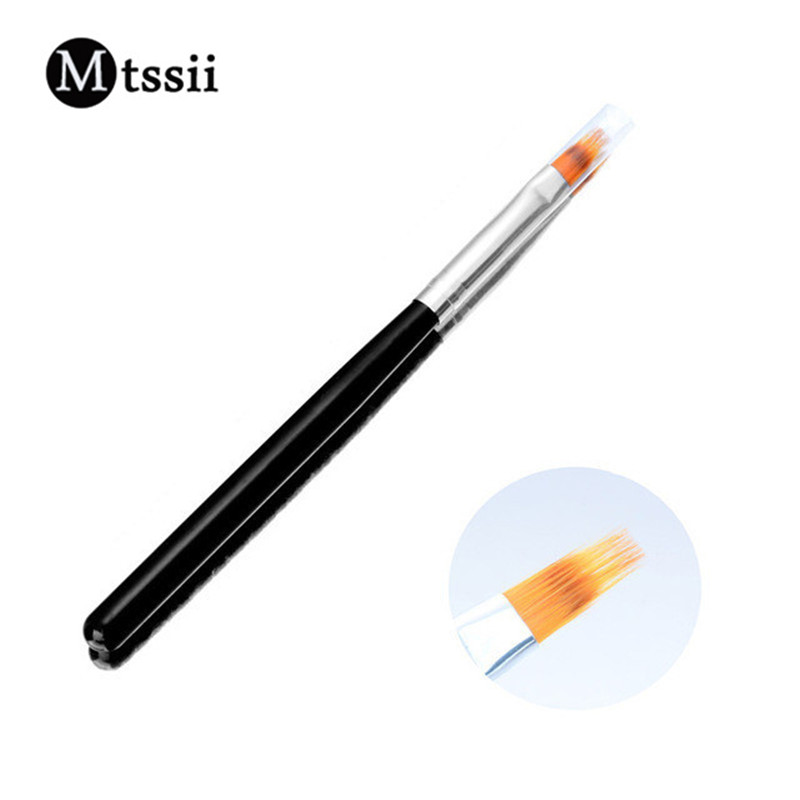 Nuevo 1 unid Mango negro Nylon Hair Ombre Brush Nail Art Brushes Soft Professional Nails Manicure Tools For Gradient UV Gel Nail