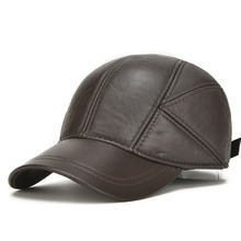[AETRENDS] 2017 Winter Warm Sheepskin Hats for Men Genuine Leather Baseball Cap Men Z-5295