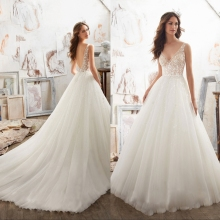 Wedding Dress V-neck Backless with Court Train