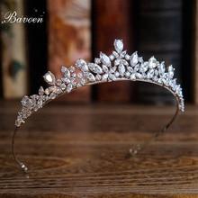 Bavoen Новое поступление высокое качество Европейский невесты кубического циркония тиара заставки вечерний Корона Женские аксессуары для волос