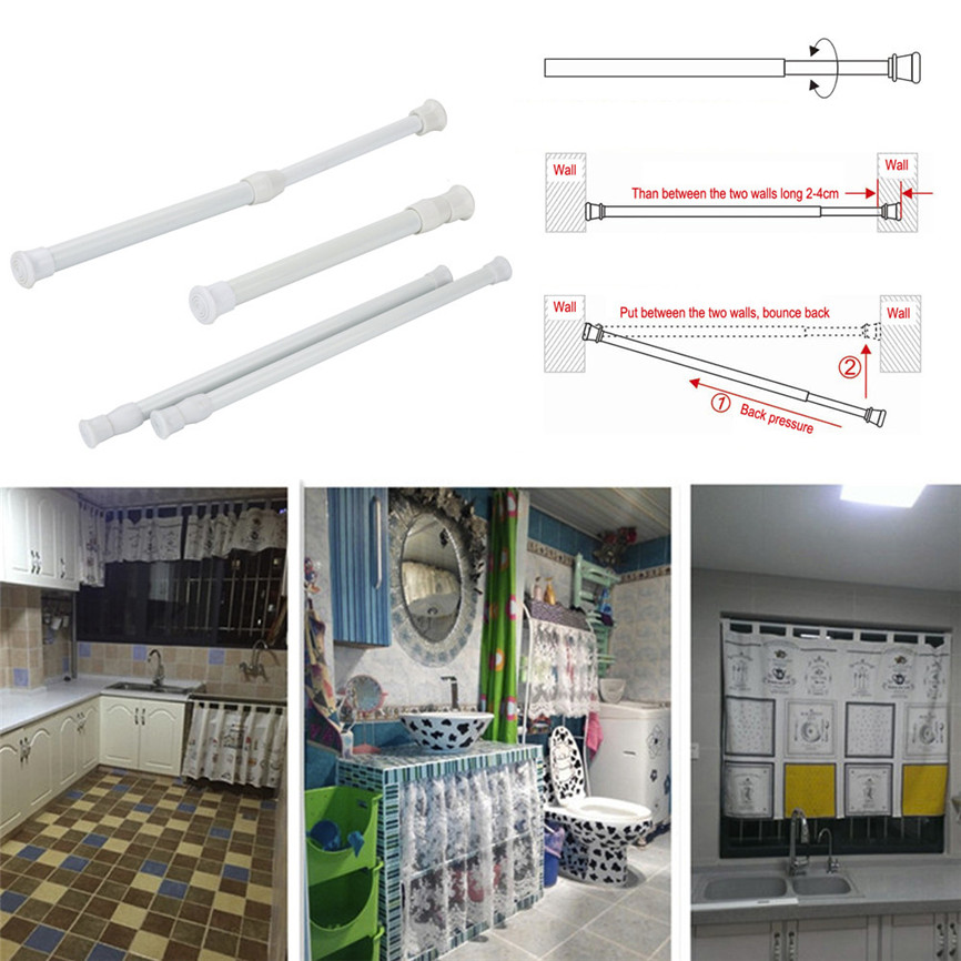 New Quality Adjustable18-35cm Shower/Wardrobe Curtain Hanging Rods Sticks Pole Loaded Hanger Wholesale &915