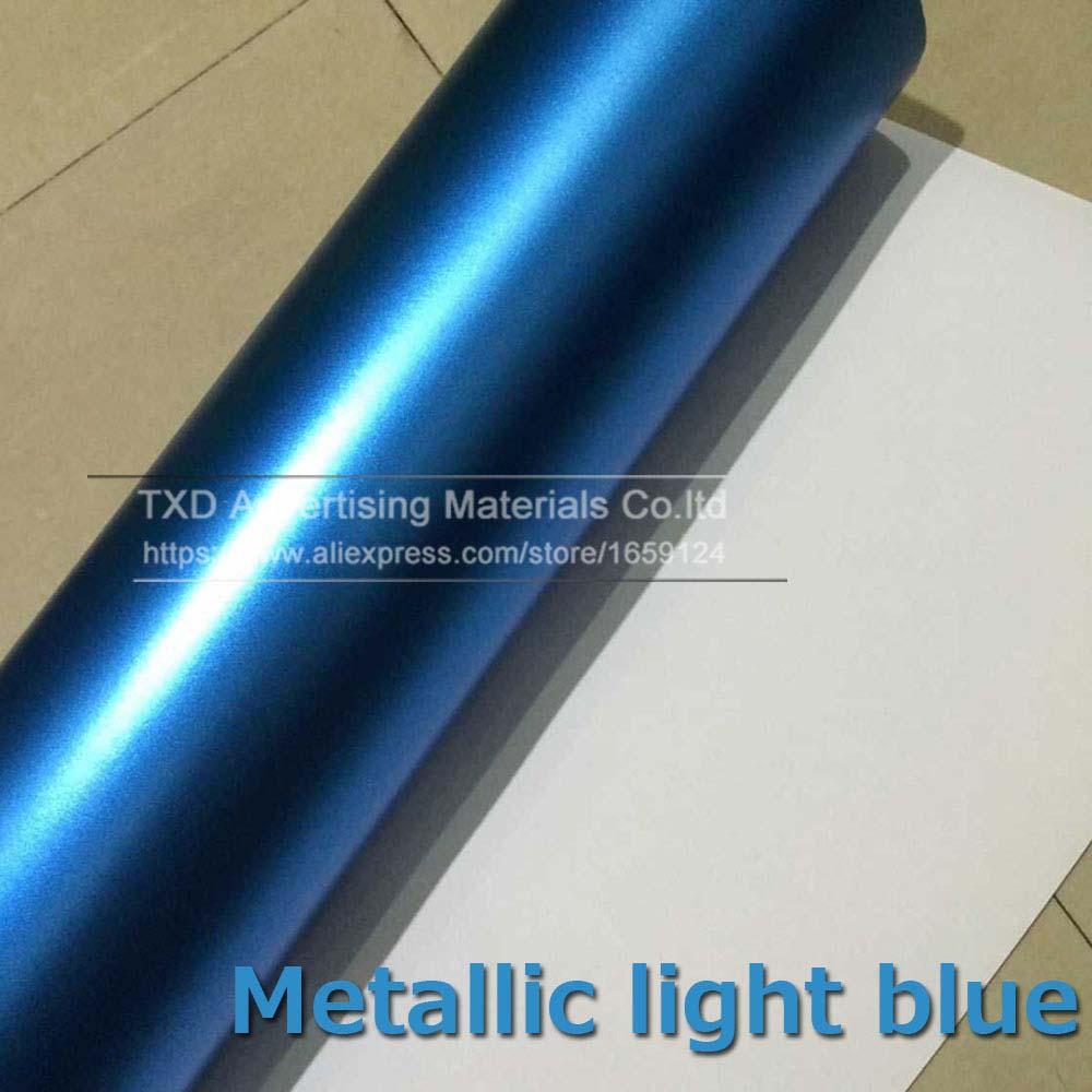 1,52*5 м/10 м/15 м/20 м в рулоне Премиум атласный металлический матовый хром Красный Синий Зеленый Виниловая пленка без пузырей - Название цвета: light blue
