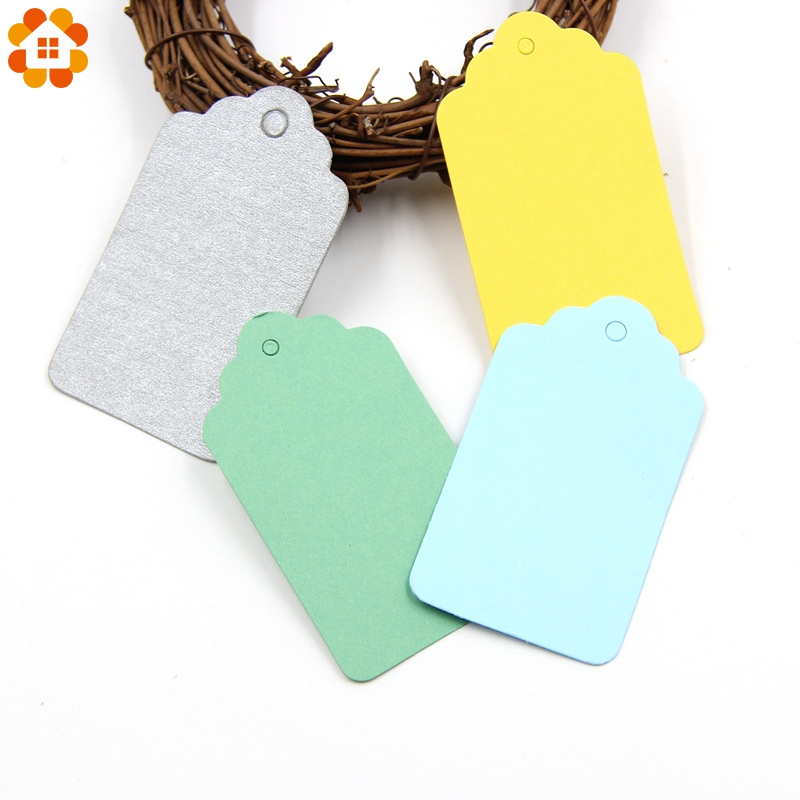 50PCS Colorful Paper Tags Kraft Paper Card Tags Labels For DIY Christmas/Wedding/Party Favors Scrapbooking Kraft Gift Tags Decor