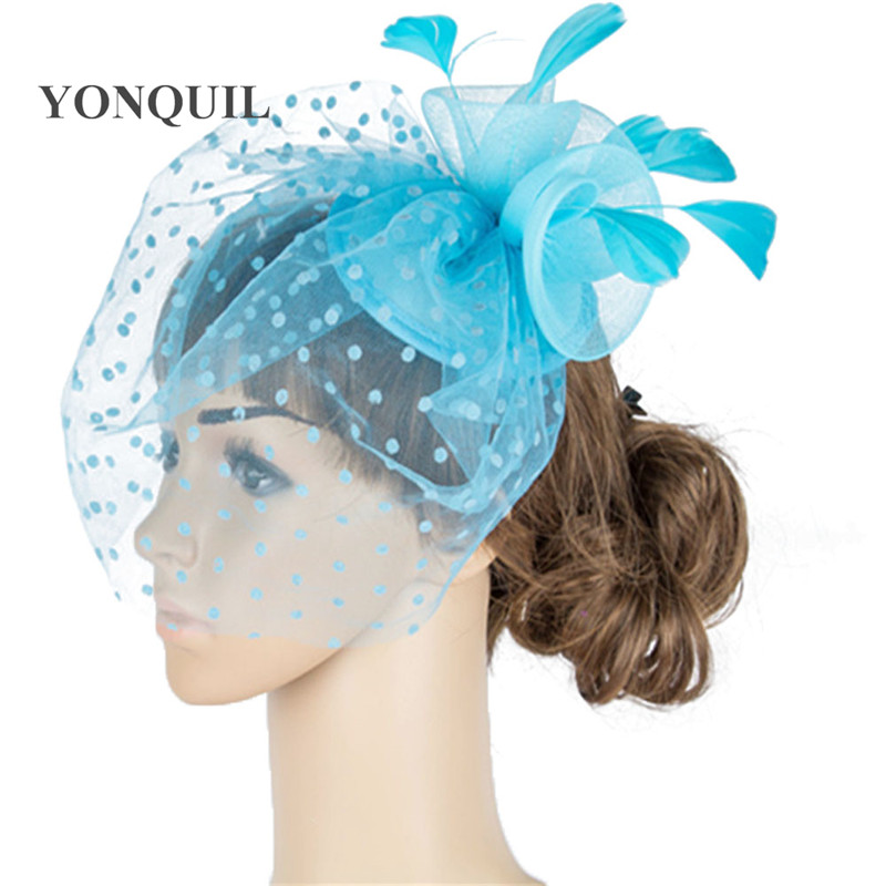 Charming crinoline mesh fascinator party headpiece wedding headwear cocktail hair accessories bridal fancy feather accessory