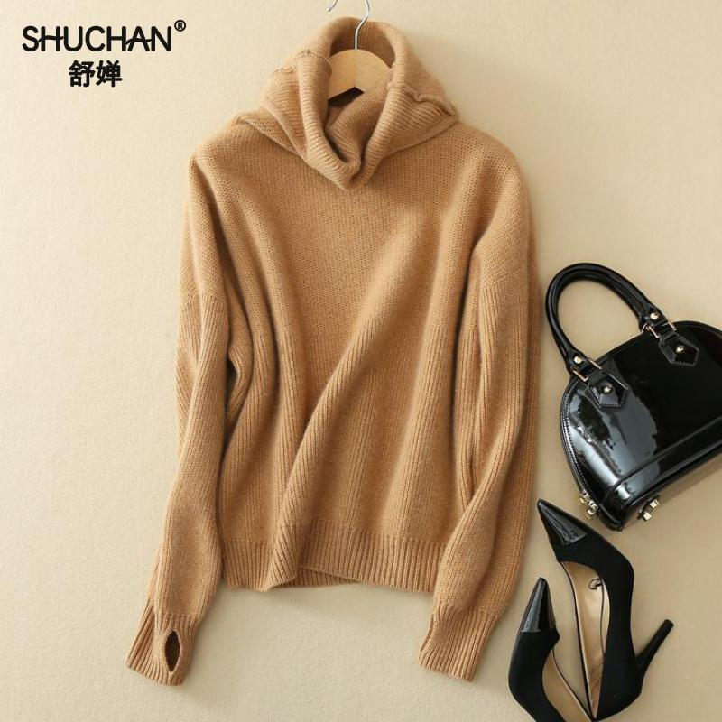 SHUCHAN Warm Women's Cashmere Sweaters With Long Sleeves 2017 New Arrival Turtleneck Cashmere Knitted Sweater Casual Basic B194