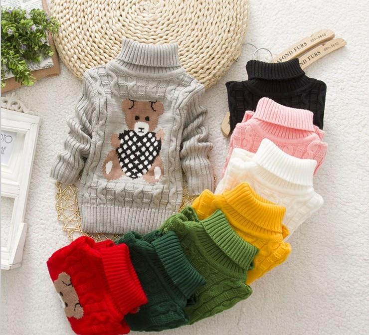 Baby Mädchen Jungen Pullover Cartoon Tragen Kinder Winter Gestrickte Warme Pullover Rollkragen Pullover Oberbekleidung Pullover kinder Kleidung