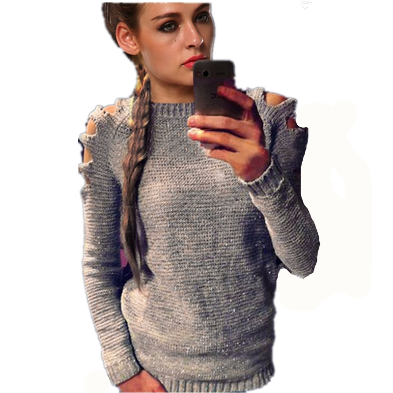 Aliexpress.com : Buy 2017 Europe shoulder hollow Out hole sweater ...