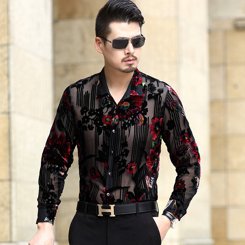 new design mens floral hollow clothes sexy see through