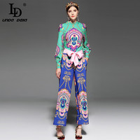LD LINDA DELLA Runway Designer Vintage Two Piece Suits Women S Sets Long Sleeve Top And