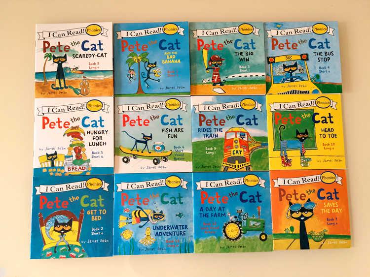 12 stks/set IK Kan Lezen pete de kat Engels Prentenboeken Kinderen verhaal boek Vroeg Educaction pocket reading boek 13x13 cm
