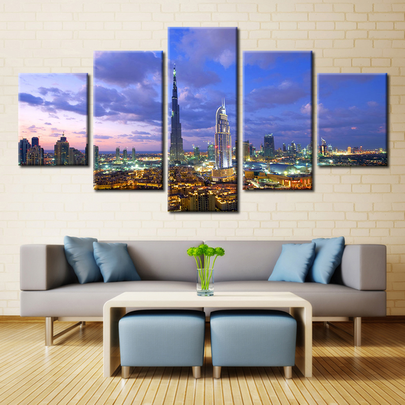 Forbeauty 5 Piece Canvas Painting Art Picture Posters And Prints Home Decoration Livingroom Dubai Night Live Burj Sailing Hotel