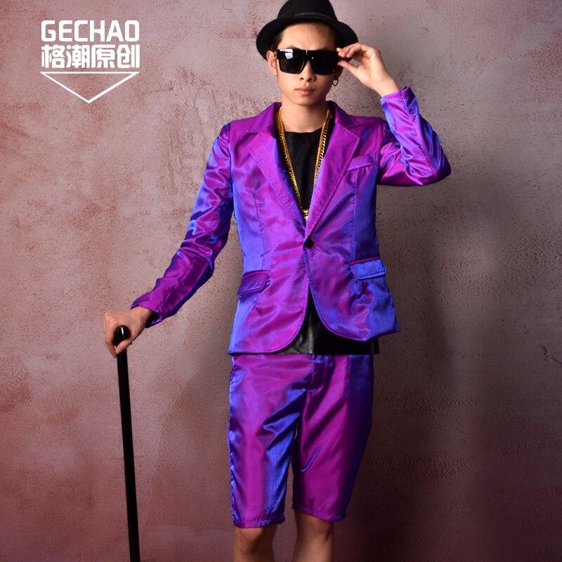 Men Shine Casual Trajes (chaqueta + pantalones cortos) hip Hop Slim Fit  chaqueta bailarín cantante DJ etapa trajes por encargo en Trajes de La ropa  de los ... ceacfa6f01f