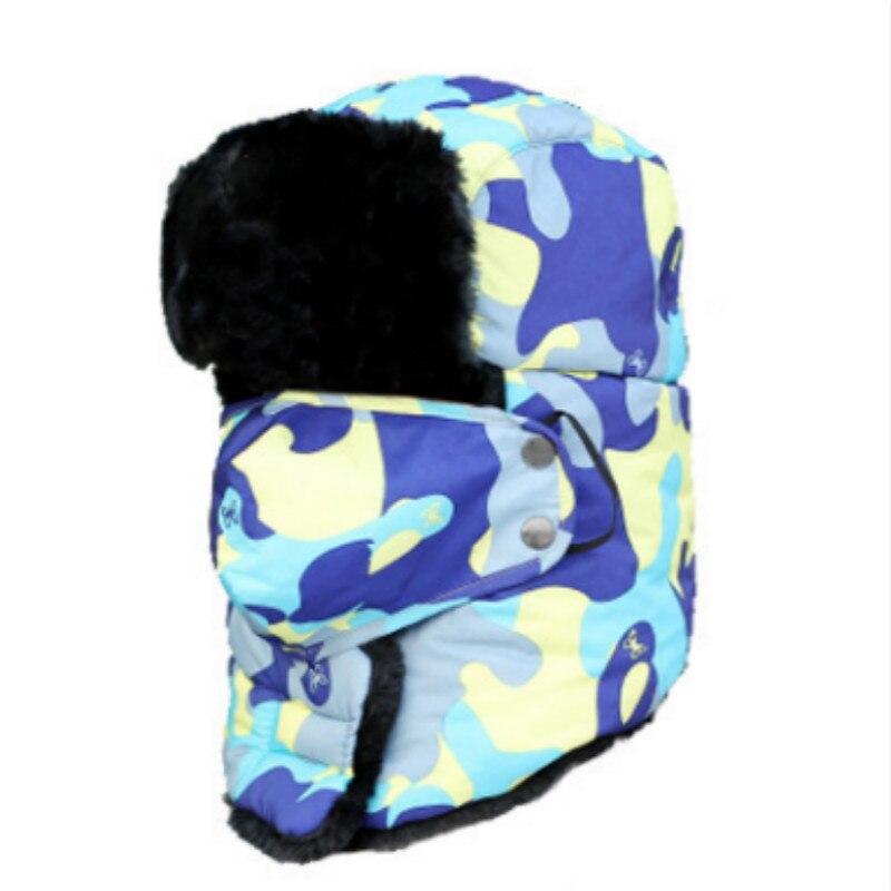 Которая в душе семья мех бомбер шляпа для женщин и мужчин ушные щитки Русская Шапка Детская уличная теплая утолщенная зимняя шапка с шарфом маска - Цвет: adult camo blue
