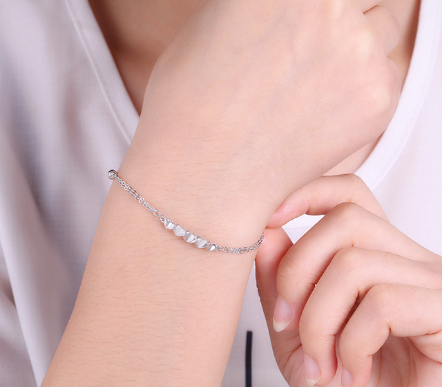 Romantic PT950 Platinum White Real Solid Gold Heart Bead Bracelets Bangles for Women Girl Female Fine Wedding Jewelry Gift 5