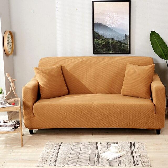 Monily Machine Embossing Spandex Elastic Slipcovers Solid Sofa Covers All Inclusive Towel Turmeric Blue