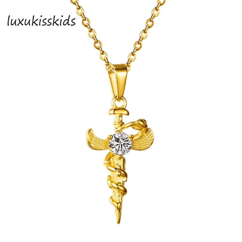 Luxukisskids Men Cross Necklace Pendant Crystal Women Juses Signora Oval Big 3 Lt Food Warmer Crucifix Christianity Jewel Gold Jesus Of Nazareth Stainless Steel