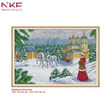 NKF cross stitch kit Waiting in the snow clear pattern needlework DMC 11/14 CT DIY handmade embroidery Kit for room decor gift все цены