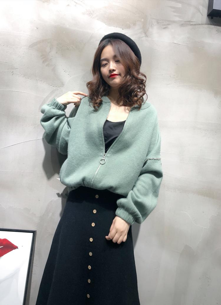 Cachemire Femmes Beige Manches noir Fermé Chauve Tricoté En pu Ciel Pull Vison Mode Manteau De Avec souris Dames Zip rZrqFIx