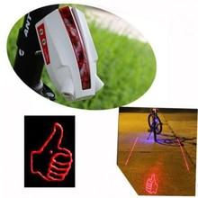 Thumbs logo Bike Bicycle Intelligent Laser Rear Light 5 LED Tail Lamp 4 modes 11 patterns to pick(China (Mainland))