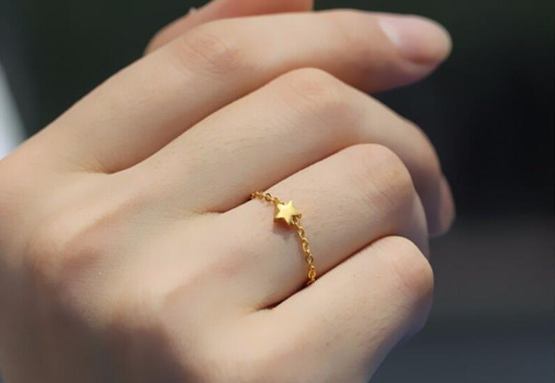 Чистый 999 24 К желтого золота/Для женщин Lucky o цепи звезда кольцо/US 7