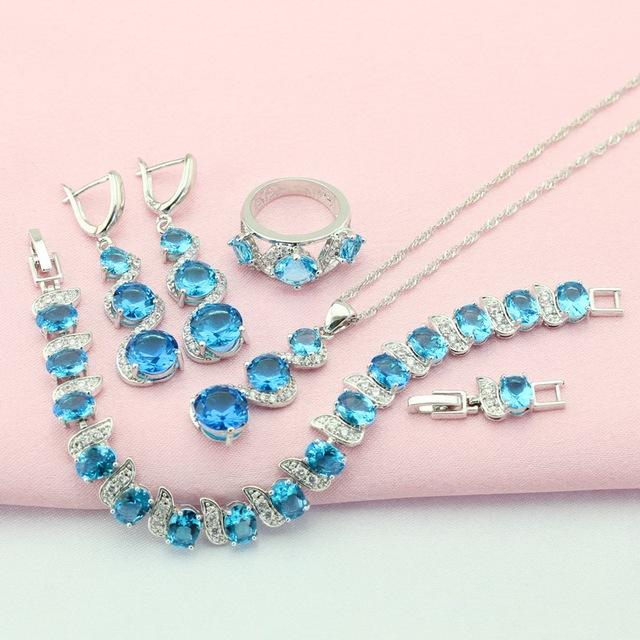 ASHLEY Azul Conjuntos de Jóias de Pedra Para As Mulheres de Prata Banhado Brinco De Cristal/Pingente/Colar/Anel/Pulseira Grátis Caixa de jóias M-JSF002