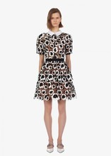 New arrival short sleeves lace dress Fashion womens lapel floral high-waist A409