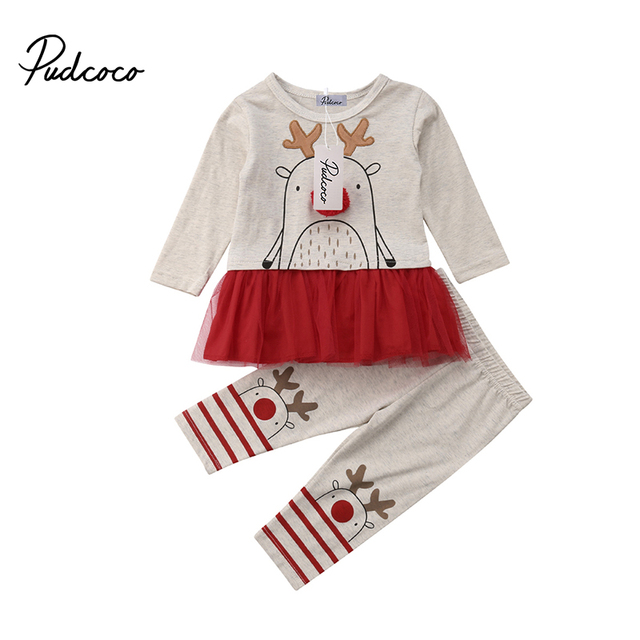4123c47e6 2018 Xmas Toddler Baby Girl Lace Tutu Dress Deer Print Top+Pants ...