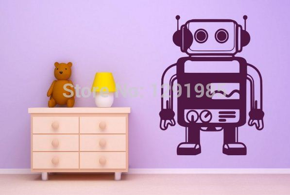 livraison gratuite diy de mur de vinyle autocollant robot fentre papier peint pour chambre d - Affiche Garcon Robot