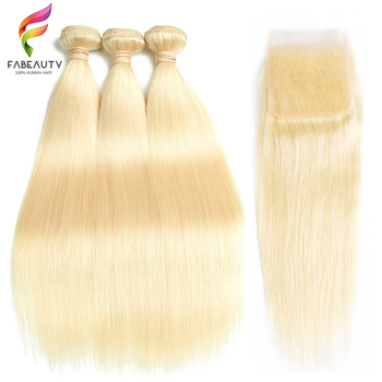 Color # 613 Human Hair Bundles With Lace Closure Remy Brazilian Hair Weave Bundles Honey Blonde Bundles With Closure 10- 30 inch