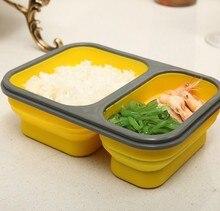 900 ml Silikon Zusammenklappbaren Tragbaren Frischhaltedose 2 Cell Schüssel Mittagessen Bento-boxen Klapp Lunchbox Umweltfreundliche