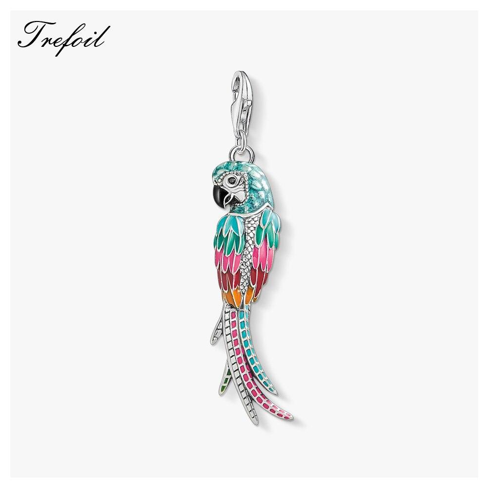 Papagaio colorido Encantos Pingente de Pássaro, 2019 Moda Jóias de Prata Esterlina 925 Bonito Presente Original Para Mulheres Colar Pulseira Fit