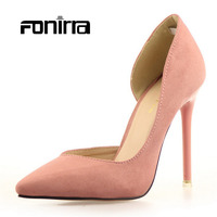 2016 Spring Summer Solid Concise Pumps Sexy Lady Super High Thin Heel Women Shoes Flock Pointed