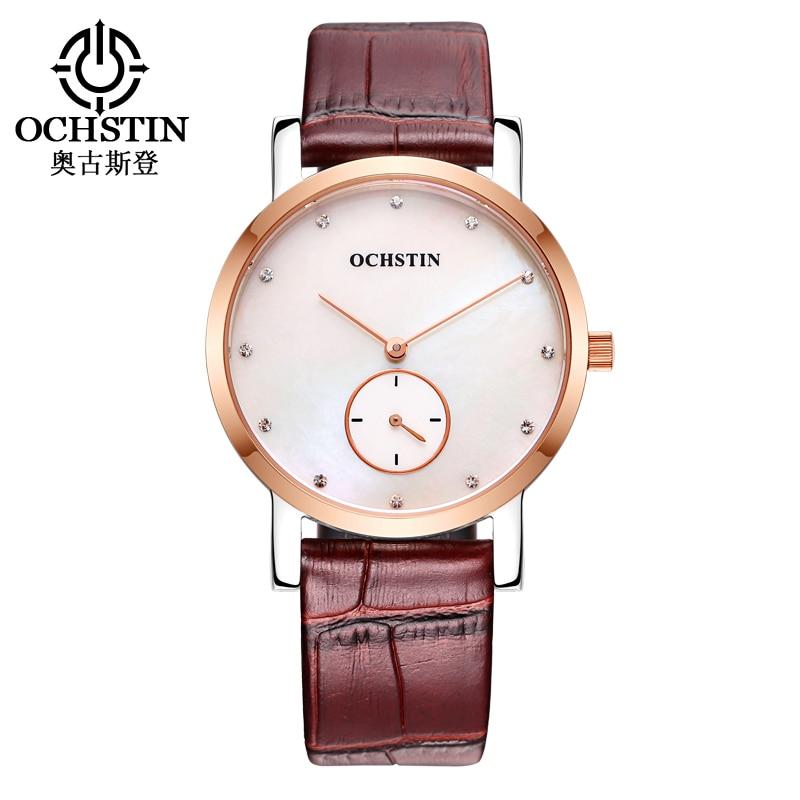 OCHSTIN Couple Leather Quartz Watches Unisex Fashion Casual Watch Women Men Simple Gift Wristwatches 017B