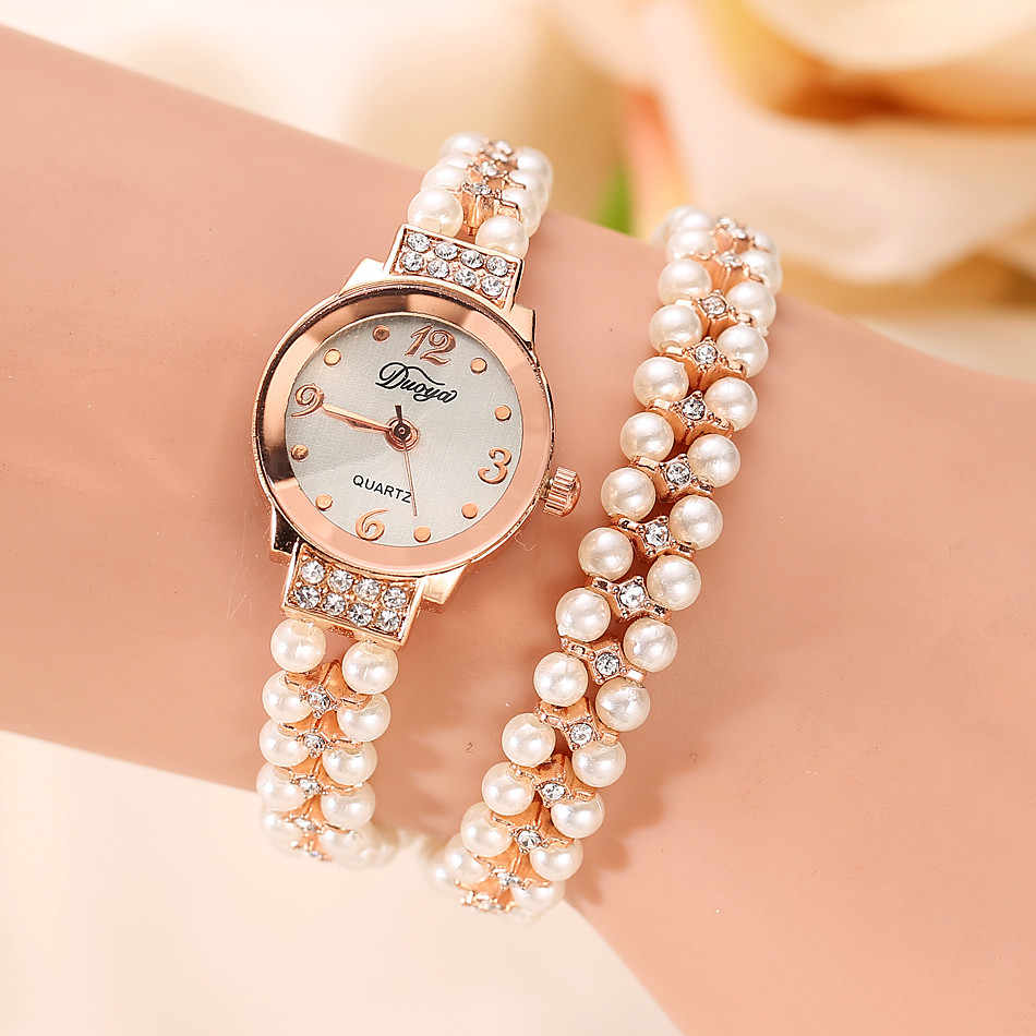 Newest Luxury brand 2018 Duoya Brand Quartz Watch Women Gold Pearl Jewelry Steel Bracelet Wristwatch Women wholesale  Aug4