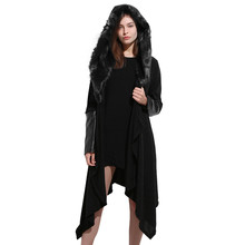 Feitong  Women  Parka  Winter  Solid Stitching Long Sleeve  Coats  Faux Fur Panel Warm  Hooded Plus Size Lady  Blouse jacket