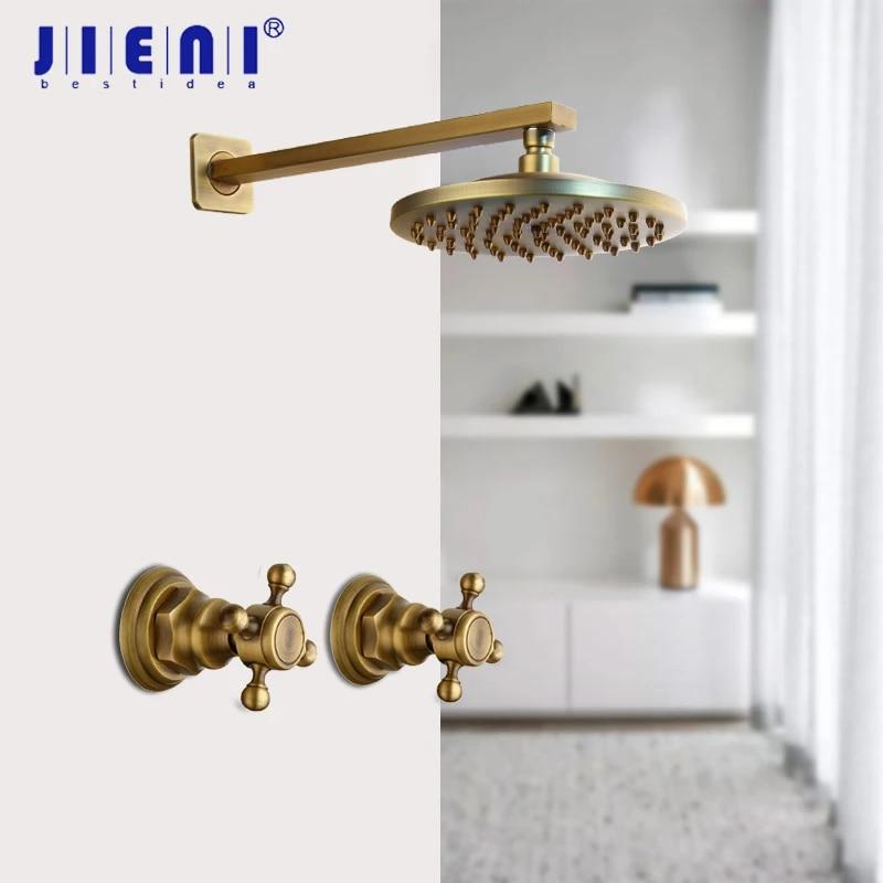 jieni 8 inch antique brass round wall mounted bathroom rainfall shower faucet set head 2 handles shower shower set black orb